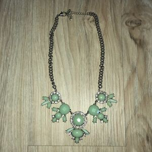 Silver and Mint blue statement necklace